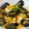Schellfisch und Muscheln im Weißweinsud